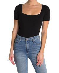 RE/DONE 80's Square Neck Bodysuit - Black