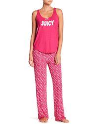 Juicy Couture - Scoop Neck Tank Top & Printed Pants Pajama Set - Lyst