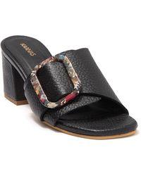 Kaanas Comino Buckle Leather Block Heel Sandal - Black