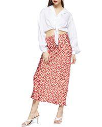 TOPSHOP Floral Print Bias Maxi Skirt - Red