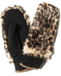 BCBGMAXAZRIA Faux Fur Leopard Print Mittens - Black
