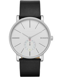 Skagen Men's Hagen Leather Strap Watch, 40mm - Metallic
