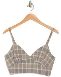 KNOWONECARES Plaid Bustier - Natural