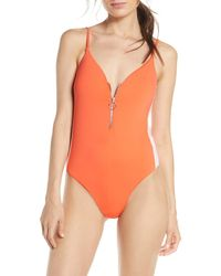 The Bikini Lab Front Zip One-piece Swimsuit - Orange