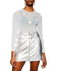 TOPSHOP - Embellished Floral Bodysuit - Lyst