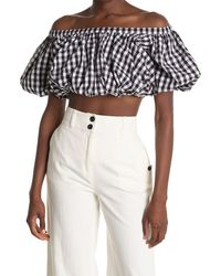 10 Crosby Derek Lam Hani Gingham Off-the-shoulder Cropped Bubble Top - Multicolor