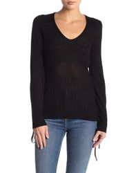 efdcbf394a9 Lyst - Ashley Stewart Lace-up Shoulder Fitted Sweater in Black