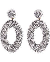 Panacea Beaded Oval Earrings - Metallic
