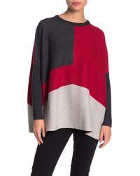 Joseph A Colorblock Crew Neck Poncho Sweater (petite) - Red