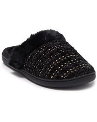 Kensie Chenille Faux Fur Slipper - Black