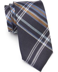 Ben Sherman Landrik Plaid Silk Tie - Blue