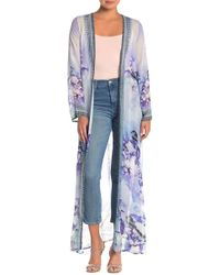 Shahida Parides Floral Long Sleeve Maxi Duster - Blue