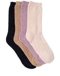Josie Chenille Cozy Assorted Solid Crew Socks - Pack Of 4 - Pink