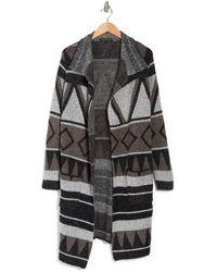Joseph A Drape Collar Print Maxi Cardigan Sweater Coat - Gray