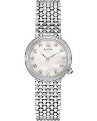 Bulova - Women's Silver Diamond Watch, 28mm - Lyst