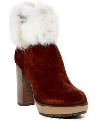 Manas Genuine Rabbit Fur Lined Boot - Red
