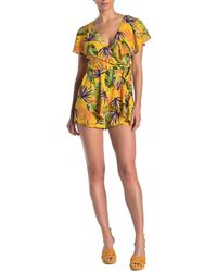 Do+Be Collection Tropical Leaf Print Romper - Yellow