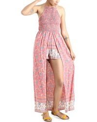 Angie Smocked Bodice Walk Through Hater Romper - Pink