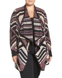 Lucky Brand - Drape Front Intarsia Cardigan (plus Size) - Lyst