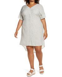 Caslon Caslon Stripe Tie Back Linen Blend Dress - White