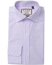 Thomas Pink Gingell Check Classic Fit Dress Shirt - Purple