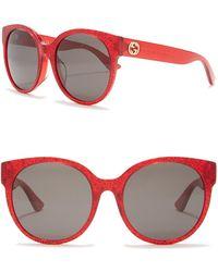 ccdff2864667d Lyst - Gucci 55mm Glitter Square Sunglasses in Red