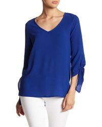 Gibson - Tie Sleeve V-neck Tunic - Lyst