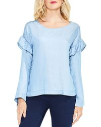 Two By Vince Camuto Ruffle Shoulder Blouse (petite) - Blue