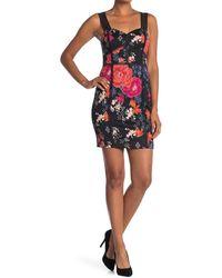 Guess Floral Corset-seam Bodycon Dress - Black