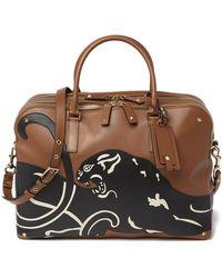 Valentino Jaguar Leather Briefcase - Brown