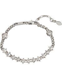 Rebecca Minkoff Silver Plated Brass Cz Accented Chain Bracelet - Metallic