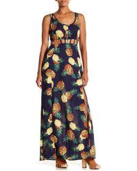 AAKAA Cutout Pineapple Print Maxi Dress - Blue
