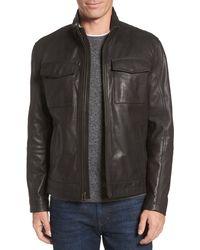 Cole Haan Leather Trucker Jacket - Black