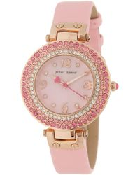 Betsey Johnson Women's Crystal Embellished Leather Strap Watch, 35mm - Pink