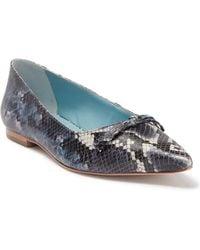 Frances Valentine Paige Snakeskin Embossed Leather Flat - Blue