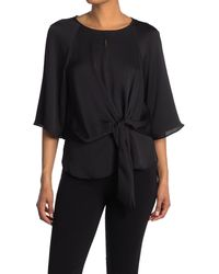 Vince Camuto Elbow Sleeve Tie Front Blouse - Black