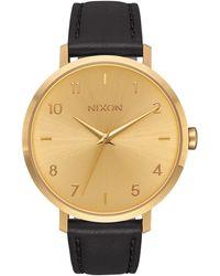 Nixon The Arrow Leather Strap Watch, 38mm - Metallic
