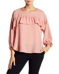 Halogen - Ruffle Popover Crepe Blouse (petite Size Available) - Lyst