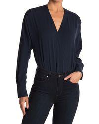 Tibi Savannah Crepe Wrap Bodysuit - Blue