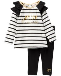 Juicy Couture Striped Ruffle Shoulder Tunic & Leggings Set (baby Girls) - Multicolor