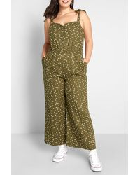 ModCloth Every Waking Moment Patterned Jumpsuit - Green