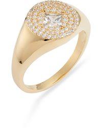 Nordstrom Pavé Crystal Signet Ring - Metallic
