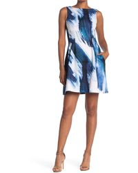 Vince Camuto Sleeveless Fit & Flare Scuba Dress - Blue