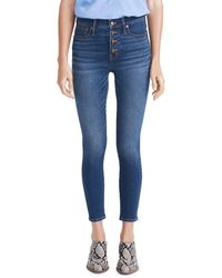 Madewell Button Front Crop Skinny Jeans - Blue