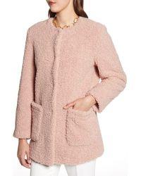 Halogen Faux Shearling Teddy Coat - Pink