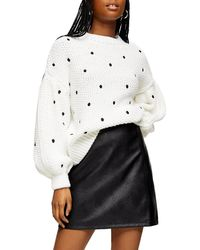 TOPSHOP Spot Embroidered Sweater - White