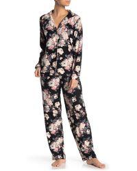 Jessica Simpson Floral Long Sleeve Top & Pants Pajama 2-piece Set - Black