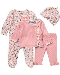 Nicole Miller Footie, Jacket, Legging & Beanie Set (baby Girls) - Pink