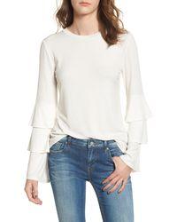 BP. Ruffle Sleeve Ribbed Sweater - White