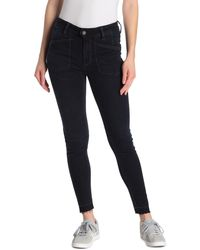 Free People Ivy Mid Rise Released Hem Skinny Jeans - Blue